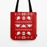 starlord Tote Bags featuring Merry Christmas A-Holes by Perdita