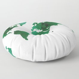 World Map Vibrant Green Earth Floor Pillow