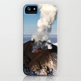 Eruption volcano - effusion from crater lava, gas, steam, ash iPhone Case
