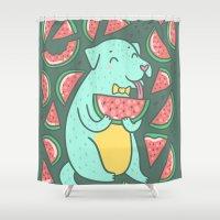 daria Shower Curtains featuring Watermelon Dog by Anna Alekseeva kostolom3000