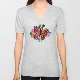 Orange Butterfly Unisex V-Neck