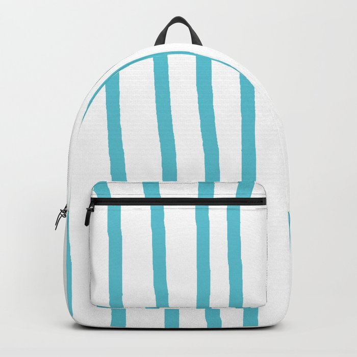 Simply Drawn Vertical Stripes in Seaside Blue Backpack