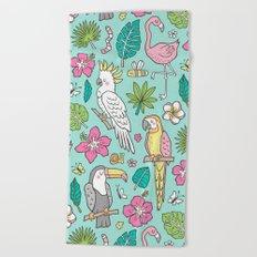 Tropical Jungle Birds Toucan Flamingo and Pink Hibiscus Floral Flowers Leaves Paradise Mint Beach Towel