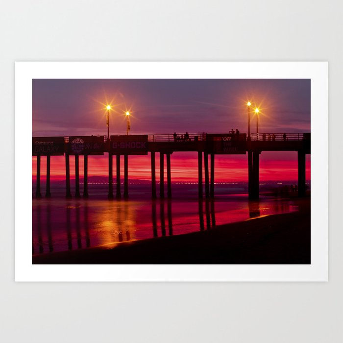 Sunset Huntington Beach Pier  8/2/14 Art Print