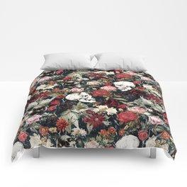 Vintage Floral With Skulls Comforters