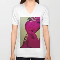kindle V-neck T-shirts featuring Pop Art by Jide