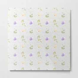 Lilac green hand painted floral leaves pattern Metal Print
