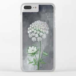 Queen Anne's Lace Flower Painting Clear iPhone Case