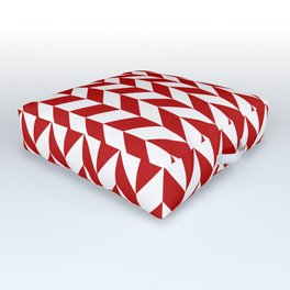 Red and White Herringbone Pattern Outdoor Floor Cushion