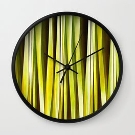 Yellow Ochre and Brown Stripy Lines Pattern Wall Clock