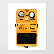 Guitar Distortion Pedal Acrylics On Paper (White Edit) Canvas Print