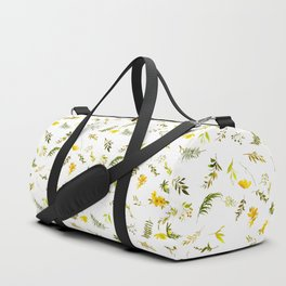 Tropical yellow green watercolor modern leaves floral Duffle Bag