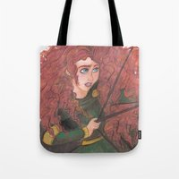 merida Tote Bags featuring Merida by carotoki art and love