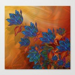 """Blue flowers on orange silk"" (Air Spring at night) Canvas Print"