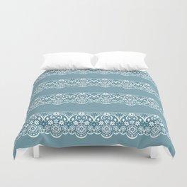 Blue lace fabric. Graphic design. Duvet Cover