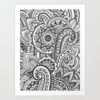paisley Art Prints featuring Paisley by Emma Lin
