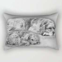 Golden Retriever young and old Rectangular Pillow