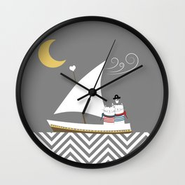 Nautical Sailor Cats Wall Clock