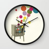 tv Wall Clocks featuring Colour Television by Cassia Beck