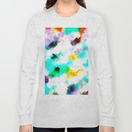 psychedelic geometric pixel abstract pattern in blue green yellow pink Long Sleeve T-shirt
