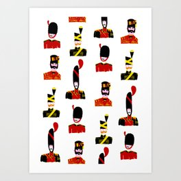 Moustache Soldiers Art Print