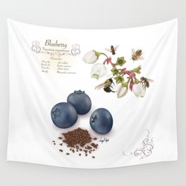 Blueberry and Pollinators Wall Tapestry