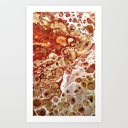 Red and Gold Fluid Pour Abstract Painting Art Print
