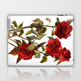 Burgundy Red Roses, deep red floral olive green dark red design roses from garden Laptop & iPad Skin