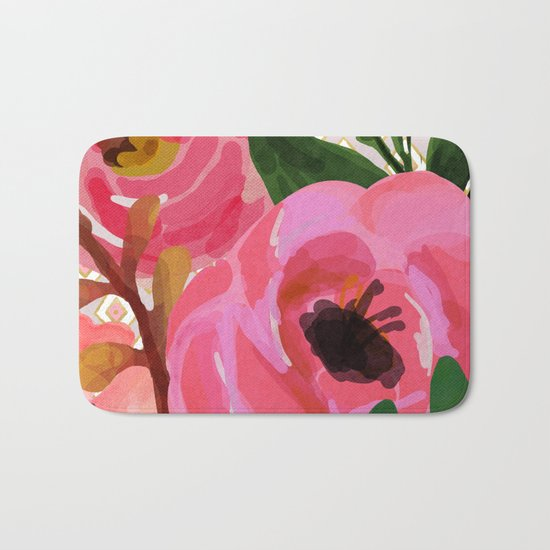 Composition watercolor flowers and rhombuses Bath Mat