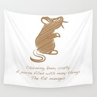 rat Wall Tapestries featuring Rat by Gothic Panda