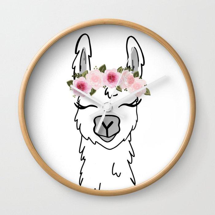 Floral Crown Llama Wall Clock by ktscanvases