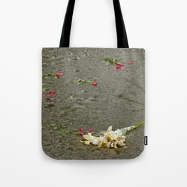 Flowers in a frozen pond Tote Bag