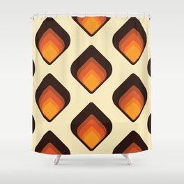 Mid-Century Modern Orange and Brown Tear Drop Shower Curtain
