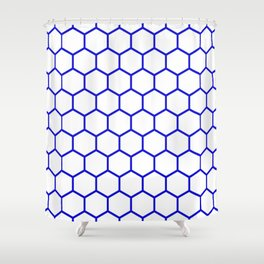 White and blue honeycomb pattern Shower Curtain
