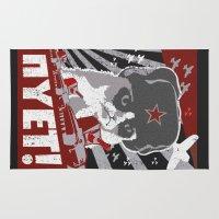 soviet Area & Throw Rugs featuring grumpy soviet by tshirtsz