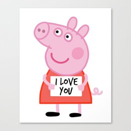Peppa pig  i love u Canvas Print