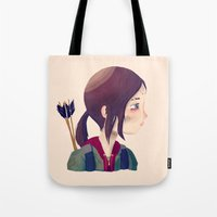 ellie goulding Tote Bags featuring Ellie by Nan Lawson