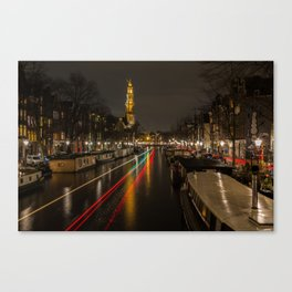 Amsterdam Canal with Boat and Bike Trails  Canvas Print