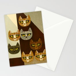Cat Pattern Japanese, Cat, Cubism, Woodblock Print, Cherry Blossom, Midcentury, Modern Stationery Cards