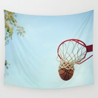 basketball Wall Tapestries featuring Basketball by KimberosePhotography