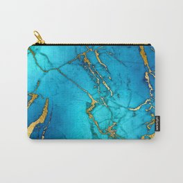 Gold And Teal Blue Indigo Malachite Marble Carry-All Pouch