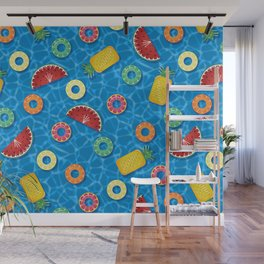Fruit Salad Pool Floats Pattern – Blue Wall Mural