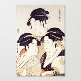 Three Beauties of the Present Day - Japanese Woodblock Print Canvas Print