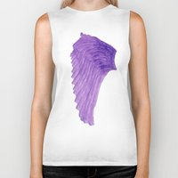 angel wings Biker Tanks featuring Purple Angel Wings by The Bohemian Bubble