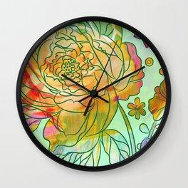 Pearly Peony Wall Clock