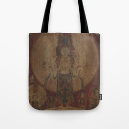 Eleven-Headed, Thousand-Armed Bodhisattva of Compassion 16th Century Classical Tibetan Buddhist Art Tote Bag
