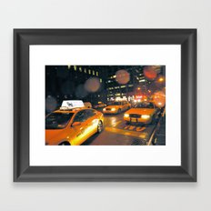 Cabs in the Rain Framed Art Print