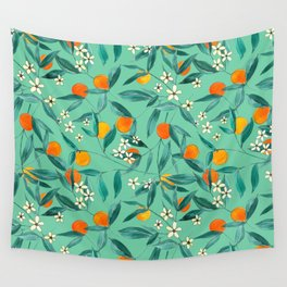 Orange Summer in Green Wall Tapestry