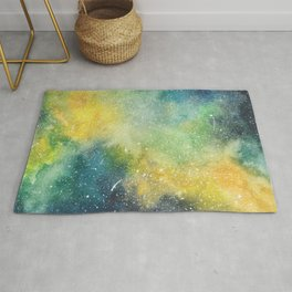 Yellow, green, and blue galaxy painting Rug