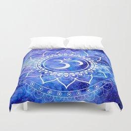 Om Mandala Blue Lavender Galaxy Duvet Cover